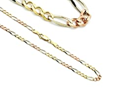 14K Gold Tricolor Figaro Chain Necklace