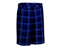 Madras Plaid Flat Shorts - Navy/Ash