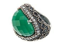 SS Oval Dyed Emerald Genuine Semi-Precious Gemstone CZ Ring