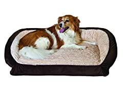 Serta Memory Foam Lounge Bolster Pet Bed-Brown-Medium