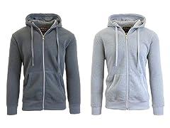 Men's Zip-Up Heavy Fleece Hoodie 2-Pack
