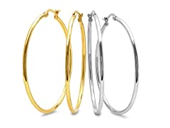 2-Pack 50mm Hoop Earrings