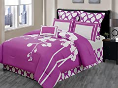 April Orchidea 7Pc Comforter Set-Purple-2 Sizes