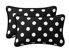 In/Outdoor Pillows- Polka Dot-Black-S/2