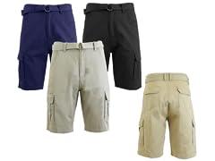 Men's Belted Heavy Twill Cargo Shorts