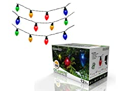 CELEBRITE Solar Multicolor Holiday Bulb String Light