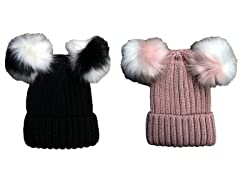 Womens Winter Knit Beanie Hat W Pom Pom 2PK