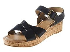 Carrini Criss-Cross Wedge Sandal, Black