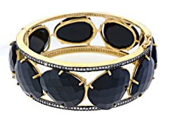 18K Gold-Plated SS Large Faceted Black Onyx Semi-Precious Gemstone Bangle