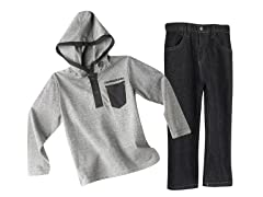Thin Striped Hooded Top & Jeans (3T & 6)