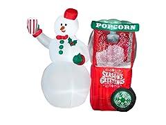 Animated Airblown Snowman w/ Popcorn Machine