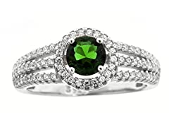 SS Tri Band Micropave Green Round-Cut CZ Ring