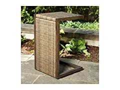 Outdoor Brown Wicker C-Shaped Side Table