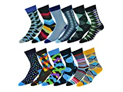 Urban Understuff Mens Fun Bold Patterned Socks 12Pk
