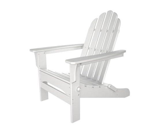 Folding White Wood Adirondack Chair