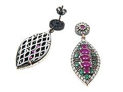 SS Dyed Ruby & Emerald Genuine Semi-Precious Gemstone Earrings