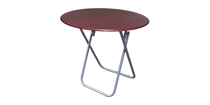 Round Utility Folding Table Cherry