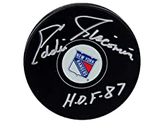 Eddie Giacomin Rangers Signed Puck