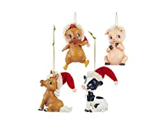 Kurt Adler 3-inch Baby Farm Animal Ornaments, Set of 4