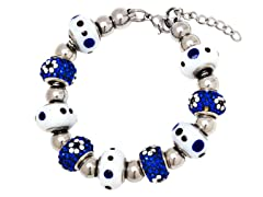 SS Murano Bracelet w/ White/Blue-Mix Charm