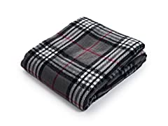 Cashmere-Like Blanket Throw - Grey Plaid