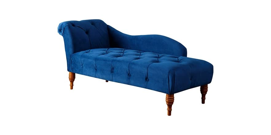 Landry sapphire blue velvet tufted chaise for Blue velvet chaise