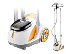 Dual Bar Garment Steamer with Foot Pedals - Orange