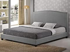 Aisling Gray Fabric Platform Bed - King