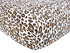 Cream Leopard Print Flannel Crib Sheet