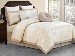 Hampshire 8pc Comforter Set-Champagne-Queen