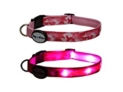 Dog-e-Glow Pink Camo LED Lighted Collar - Medium