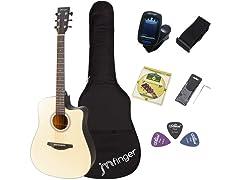 JMFinger Full Size 41 Inch Cutaway Acoustic Guitar for Beginners