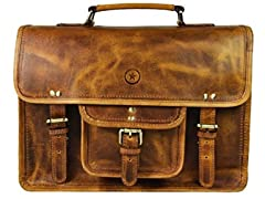 Vintage Handmade Leather Messenger Satchel Bag
