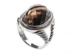 18kt Gold Accent Smokey Quartz Ring