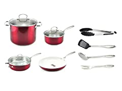 Kevin Dundon 11 Piece Cookware Set Red