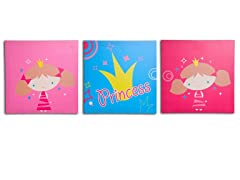 Pink Princess Canvas Print Set of 3