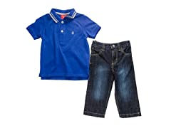 Blue 2pc Twill S/S Polo (3-24M)