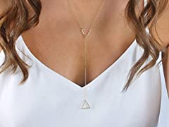 Trendy Double Triangle Charm Necklace