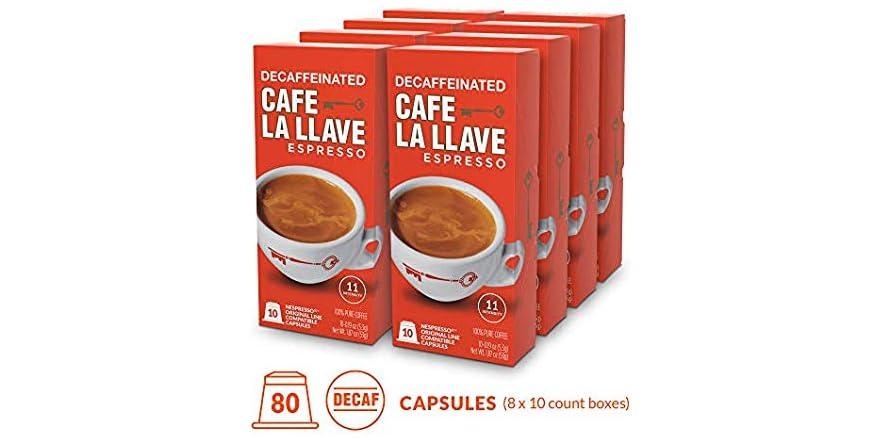 Café La Llave Decaf Espresso Capsules, Intensity 11 (80 Pods) Compatible with Nespresso OriginalLine Machines, Single Cup Coffee   WOOT