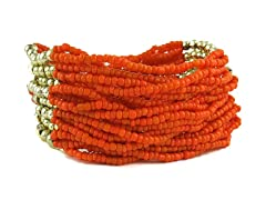 Multi Strand Orange Bead Stretch Bracelet
