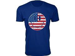 Men Happy Face USA Flag Tee