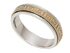 2-Tone Gold Plated Greek Ring
