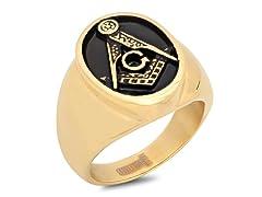 2-Tone 18kt SS Masonic Ring w/ Black IP