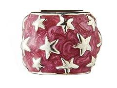 Sterling Silver Bead Red Enamel & Stars