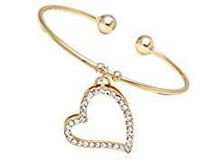Gold/Clear Swarovski Elements Open Heart Charm Bangle