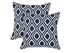 Nichole Navy 17x17 Pillows-S/2