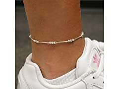 Sterling Silver Tri Bead Anklet