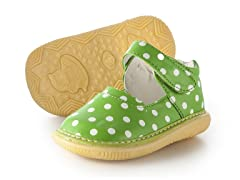 Mary Jane Squeaker - Lime & Dots (3-8)