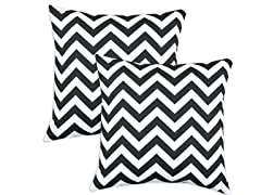 Zig Zag Black 17x17 Pillows - S/2