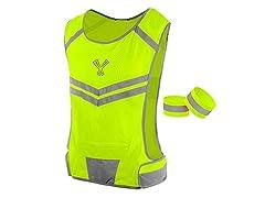 247 Viz The Reflective Vest w Inside Pocket & 2 High Vis Running Safety Bands